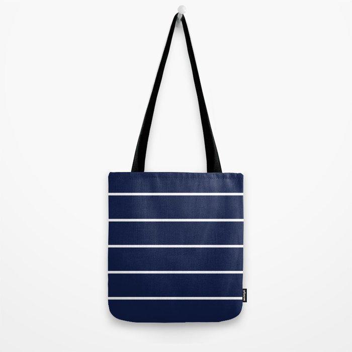 Navy Blue Pinstripes Minimal Tote Bag