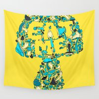 eat Wall Tapestries featuring EAT ME by KadetKat