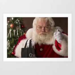 Santa Claus holding a coal bag and wondering if you have been naughty or nice Art Print