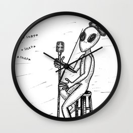 Smed The Alien At Poetry Night Wall Clock