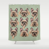 evil Shower Curtains featuring No Evil  Frenchie by Huebucket