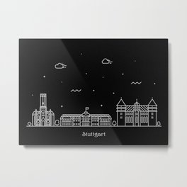 Stuttgart Minimal Nightscape / Skyline Drawing Metal Print