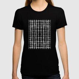 Shibori black horizontal and vertical stripes T-shirt