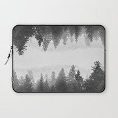 Black and white foggy mirrored forest Laptop Sleeve