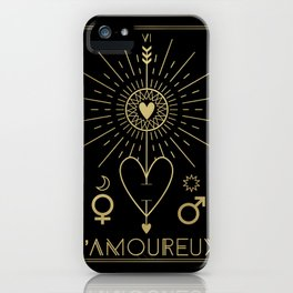 L'Amoureux or The Lovers Tarot Gold iPhone Case
