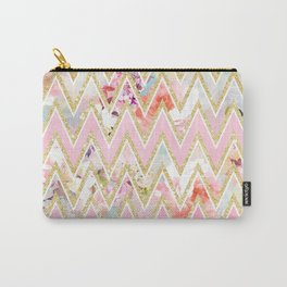 Pastel watercolor floral pink gold chevron pattern Carry-All Pouch