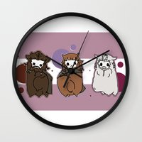 nori Wall Clocks featuring Dwarpaca family #3 by Lady Cibia