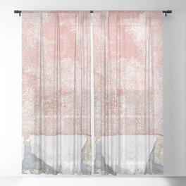 Abstract Pink Art Sheer Curtain