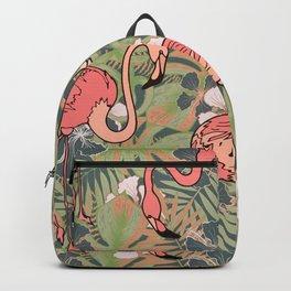Pink flamingos. Backpack
