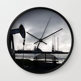 Oil Beam Pump New Plymouth Habour Wall Clock
