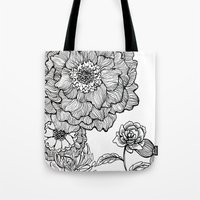 alisa burke Tote Bags featuring flower line drawing by Alisa Burke