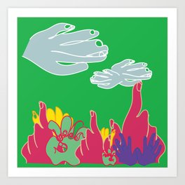 my hands as a field of flowers Art Print