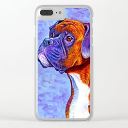 Colorful Brindle Boxer Dog Clear iPhone Case