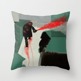 Red Saboteur Throw Pillow