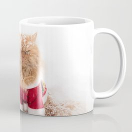 Angry Christmas Cat in Snow Coffee Mug