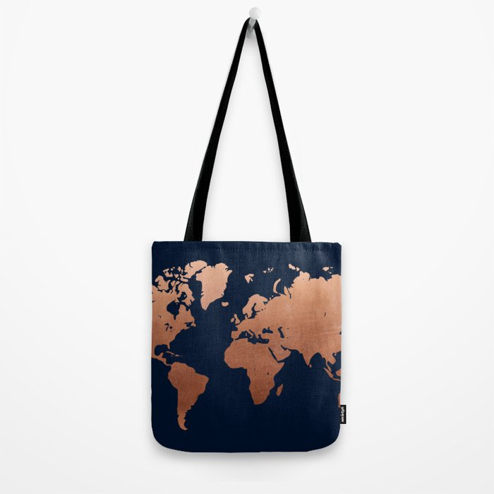 World map navy blue and copper Tote Bag