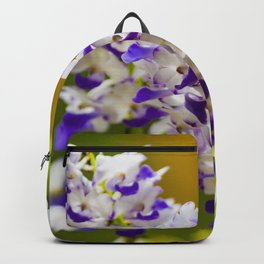 Purple & White Orchid Flowers in Bloom Backpack