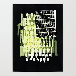 yellow calligraphy (screenprint) Poster