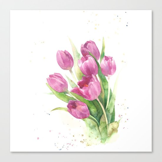 Watercolor bouquet of pink tulips Canvas Print
