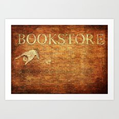 Bookstore Sign on Brick Wall Art Print