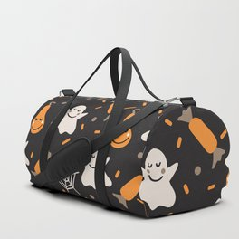 Happy hallowen ghosts, web, pumkins and sweets pattern Duffle Bag