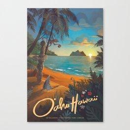 Retro Hawaii North Shore Travel Poster Canvas Print