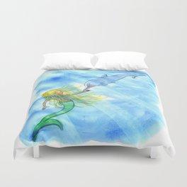 Mermaid and Dolphin - Nautical Ocean Art Duvet Cover