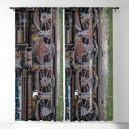 Rusting Drive Wheels of Vintage Steam Train Locomotive Blackout Curtain