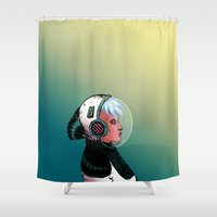 astronaut Shower Curtains featuring Astronaut by Judith Chamizo