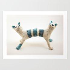 Two-headed Janus Cat Art Print