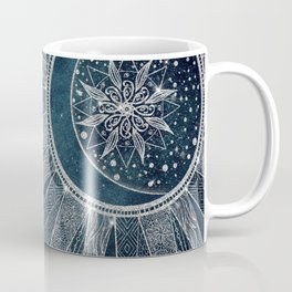 Elegant Silver Sun Moon Doodle Mandala Blue Design Coffee Mug