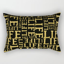 Life gold glitter lettering fancy glam typography pattern on black background Rectangular Pillow