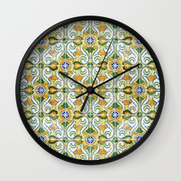 Seamless Floral Pattern Ornamental Tile Design : 9 yellow, green Wall Clock