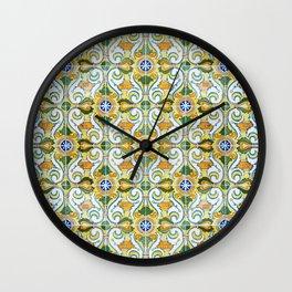 Seamless Floral Pattern Ornamental Tile Design : 9 yellow, green Wall Clock