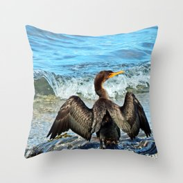 Cormorant Dries off in front of the Sea Throw Pillow