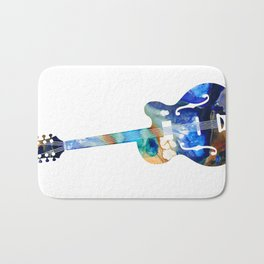 Vintage Guitar - Colorful Abstract Musical Instrument Bath Mat