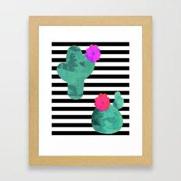 Cactus Stripes White Background Framed Art Print