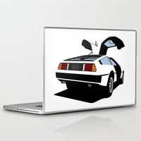 delorean Laptop & iPad Skins featuring Delorean - Ghost Image 2 by Geoff Ombao Car Art