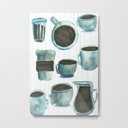 coffees watercolor Metal Print