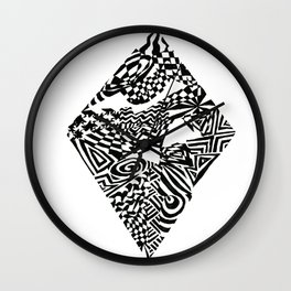 Diamond, Black/White Abstract (ink drawing) Wall Clock