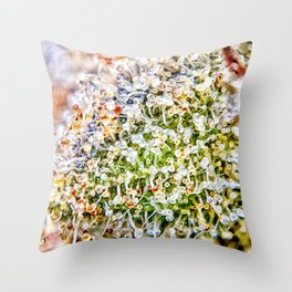 Constellation Top Shelf Bud Diamond OG Strain Trichomes Close Up View Throw Pillow