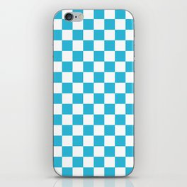 Gingham Vivid Arctic Blue Checked Pattern iPhone Skin