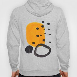 Mid Century Abstract Black & Yellow Fun Pattern Funky Playful Juvenile Shapes Polka Dots Hoody