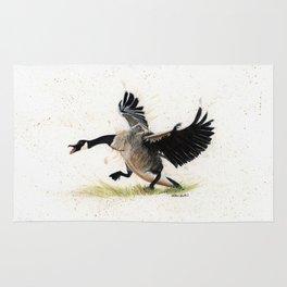 Cranky Goose - watercolor art, bird, animals Rug