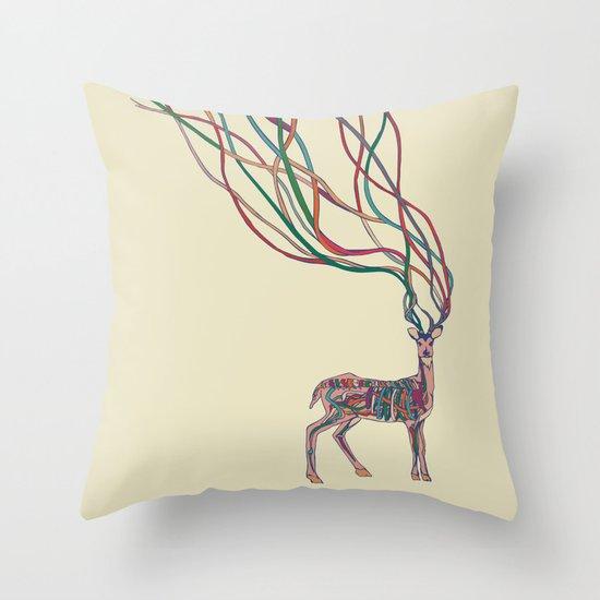 Deer Ribbons Throw Pillow