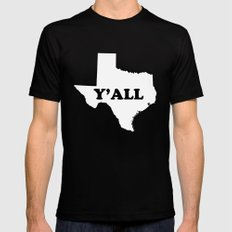 Texas Yall Black LARGE Mens Fitted Tee
