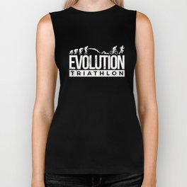 Evolution Triathlon Funny Triathlete Caveman Biker Tank