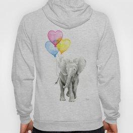 Elephant Watercolor with Balloons Rainbow Hearts Baby Animal Nursery Prints Hoody