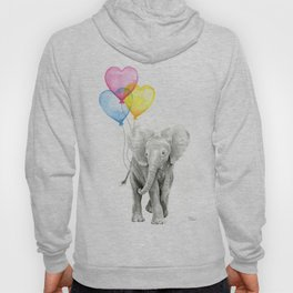 Elephant Watercolor with Balloons Rainbow Hearts Baby Animal Nursery Prints Hoody