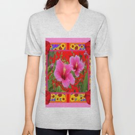 TROPICAL RED-PINK HIBISCUS FLOWERS PATTERNS Unisex V-Neck